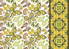 Seamless pattern with colorful vintage butterflies and flowers. Hand draw vector Stock Illustration