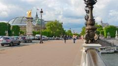 4K Low POV Shot, Pont Alexandre III Bridge Background, Traffic and Seine River Stock Footage