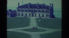 1971: tourists visiting an old mansion and an old fortress NIAGARA FALLS Stock Footage