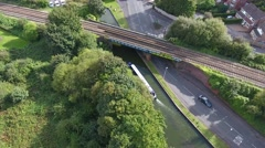 Aerial view of barge on the Dudley canal. Stock Footage
