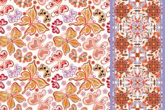 Set of seamless floral pattern with colorful butterfly and strip (border band Stock Illustration