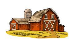 Organic farm. Vector engraving vintage black illustration. Stock Illustration