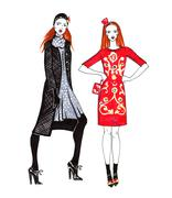 Fashion Sketch of Two Beautiful Women Stock Illustration