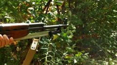 4K Hand Aiming Classic Rifle, SKS Rifle Firing Bullets, Gun Smoke Stock Footage