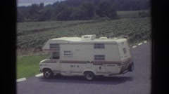 1974: camper parks at a scenic view of a new york finger lake. CLEVELAND OHIO Stock Footage