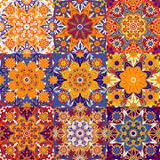 Set of seamless colorful patterns in oriental style. Islam, Arabic, Asian motifs Stock Illustration