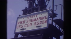 1974: visit wwii submarine uss cod ss 224 CLEVELAND OHIO Stock Footage