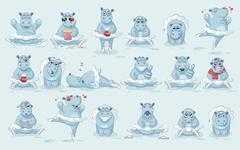 Set Vector Emoji character cartoon ballerina Hippopotamus Stock Illustration