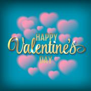 Hearts shaped clouds in the blue sky. Gold lettering. Valentine`s day Stock Illustration