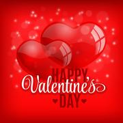 Valentine's day background with flying bubbles hearts. Vector illustration Stock Illustration