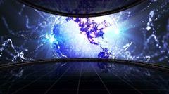 EARTH DISCO BALL Background  in Monitors and Room, 4k Stock Footage