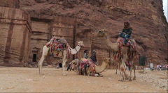Bedouin camel rider in canyon of Petra Stock Footage