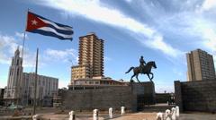 Cuban flag in downtown havana Stock Footage