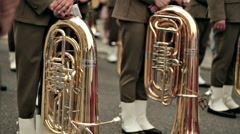 Military band waiting for a signal at ceremony. Stock Footage
