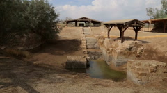 Baptismal Site, where Jesus was baptised by John the Baptist Stock Footage