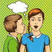 Pop art retro comic vector illustration. Kid whispering gossip or secret to h Stock Illustration