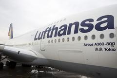 Lufthansa Airbus A380 airplane Stock Photos