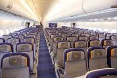 Airbus A380 airplane inside seats Stock Photos