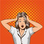 Woman in panic. Vector illustration in pop art retro style. Stressed girl in Stock Illustration
