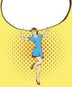 Woman holds blank white paper poster. Pop art comic retro style vector illust Stock Illustration