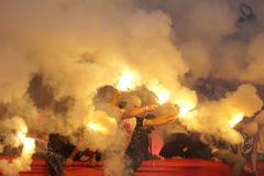 Football fans fire. Hooligans Kuvituskuvat