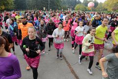 Breast cancer awareness run Stock Photos