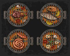 Barbecue grill top view with charcoal, mushroom, tomato, pepper, sausage, lem Piirros