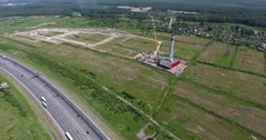 Construction site of gas power plant. . Aerial shot far distance Stock Footage