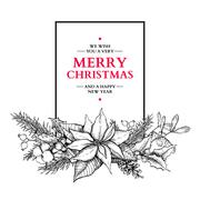 Christmas garland. Vector hand drawn illustration with holly, mi Stock Illustration
