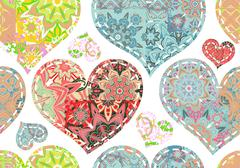 Patchwork hearts. Seamless pattern. Scrapbooking series. Vector background Stock Illustration
