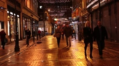 DUBLIN DECEMBER 23rd 2015 people shopping presents lights Christmas decorations Stock Footage
