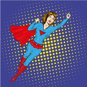 Super hero woman flying vector poster in comic retro pop art style Stock Illustration