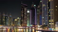 Dubai Marina night time lapse, United Arab Emirates HD Footage