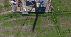 Construction site of gas power plant aerial top view Stock Footage