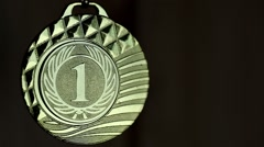Medal for competition winner on black background Stock Footage