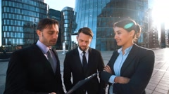 Parents call. Businesspeople give phone Stock Footage