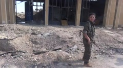 Syria - February 2016: Army front on Eufrat, ISIS war, SDF (YPJ,YPG) Stock Footage