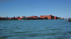Excursion in Italian Venice. View of the Giudecca from Zattere Stock Footage