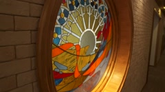 Round window with stained glass Stock Footage