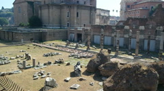 ROME, ITALY - SEPTEMBER 4, 2016. The the ruins of the Roman Forum Stock Footage