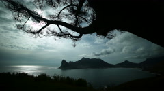 Moody wide shot of clouds rolling over bay.Time lapse. Stock Footage