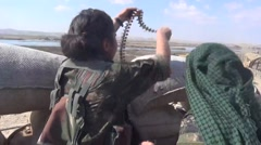 October 22, 2016:YPG soldier with machinegun ready,ISIS war,SDF (YPG, YPJ) Syria Stock Footage