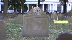 Skull and crossbone grave  in the Granary Burying Ground, Boston, MA. Stock Footage