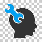 Brain Service Wrench Vector Icon Stock Illustration
