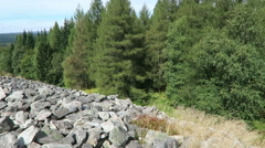 Stone wall. The Celtic hill fort of Otzenhausen Stock Footage