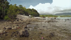 Dirty coast on the road. Philippines Stock Footage