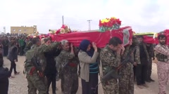 Syria, Kobani - February, 2016: Funeral, SDF,ISIS war, SDF – YPJ,YPG Arkistovideo
