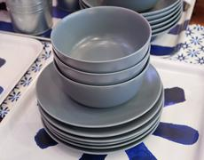 Kitchen Utensil, Set of Porcelain Dishes, Bowls and Plates Preparing for Serv Stock Photos