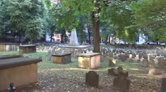 Pan across the Granary Burying Ground, Boston, MA. Stock Footage