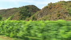 Driving along the vineyards at hills of Moselle river in Rhineland-Palatinate Stock Footage